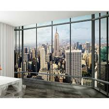 Photo Mural Wallpaper by Wall New York Window Skyline Giant Wallpaper Mural 3 15 X 2 32m