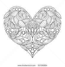 decorative love heart vector illustration coloring stock vector