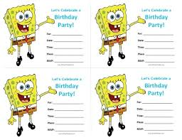 spongebob birthday invitations free printable allfreeprintable com