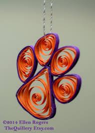 handmade clemson tiger paw orange u0026 purple christmas ornament or