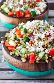 healthy greek freekeh salad peas and crayons