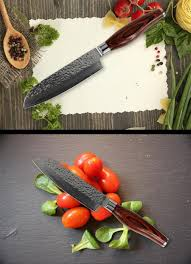 Wooden Handle Kitchen Knives by 5 Inch Sharp Santoku Knife Chef Knife Damascus Steel Tools
