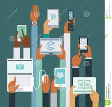 human hands holding various smart devices stock vector image
