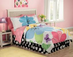 Teen Floral Bedding Sweet Pink Teenage Bedroom With Simple White Wooden Furniture Plus