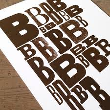 letter press brown b a3 limited edition letterpress print mostly flat