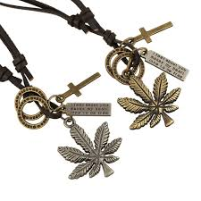 leather necklace women images Punk leather necklace vintage maple leaf pendant necklace for men jpg