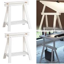 Sawhorse Trestle Desk Bhg White Trestle Leg With Shelf Assembly Youtube