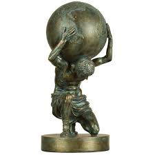 Home Sculpture Decor Small Atlas Statue 14x6in Home Office Sculpture Decor Bronze Shelf