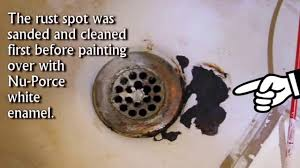 fix bath tub rust spots with waterproof ceramic paint youtube