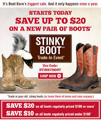 Coupon Codes For Boot Barn Bootbarn Com Starts Today Stinky Boot Trade In Event Milled