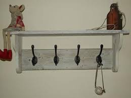 shabby chic reclaimed wood coat and hat rack with shelf rustic