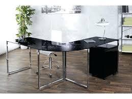 bureau chrome bureau d angle en verre dangle design noir et chrome moly 180 cm