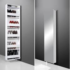 White Shoe Storage Cabinet Igma Mirrored Rotating Shoe Storage Cabinet In White Mysmallspace