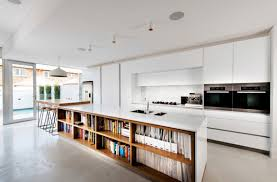 Kitchen Cabinets With Open Shelves White Island With Shelves Minimalist White Kitchen 3 Layer Shelves