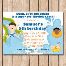 waterpark birthday party invitation boy or water park