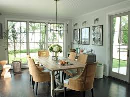Transitional Home Style by Hgtv Dining Room Gray Transitional Dining Room With Wood Farmhouse