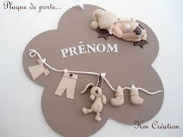 plaque de porte chambre bébé plaque de porte en bois avec bébé et décoration en fimo décoration