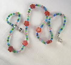 flower bead necklace images Kids jewelry red flower blue beads necklace glass jewelry jpg
