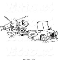vector of a cartoon truck pulling a trailer with landscape and