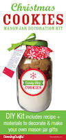 diy christmas cookie mason jar decoration kit recipe cards and