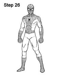 drawn spiderman simple pencil color drawn spiderman simple