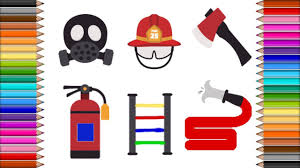 how to draw kit of firefighter coloring set art colours for