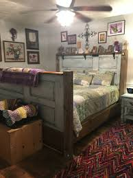 headboard footboard bed made from old doors and old 2x10s and
