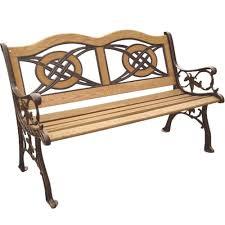 Wrought Iron Bench Wood Slats Parkland Heritage Kokomo Wood Inlay Patio Park Bench Sl5780co Br