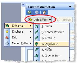 Add an effect to custom animations in PowerPoint   screen shot    Wendy Russell