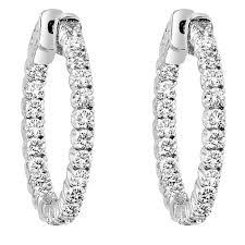 inside out diamond hoop earrings 14 karat white gold and diamond inside out hinged hoop earrings