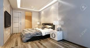 Bedroom Overhead Lighting Modern Bedroom Interior With Overhead Lighting And A Stylish