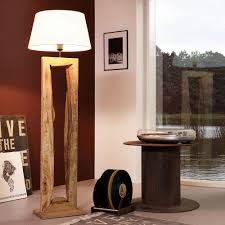 Standleuchten Wohnzimmer Beleuchtung Licht Trend Timber Stehleuchte Mit Holzfuß H126 Cm Braun Holz