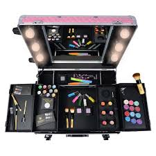 Rolling Makeup Case With Lights Studio To Go Makeup Case With Light Pro Makeup Station Pink