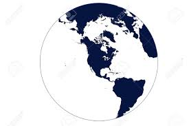 Map Of The World Outline by Globe Map Of The World Centered On Usa In Blue With White Oceans