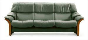 The Stressless Eldorado HighBack Leather Sofa - Hunter green leather sofa