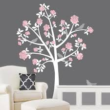 White Tree Wall Decal For Nursery Tree Wall Decals Chinoiserie Flower Tree Nursery With Regard