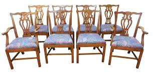 Chippendale Dining Room Table Baker Oak Chippendale Dining Chairs Set Of 8 Chairish