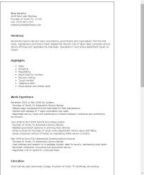 personal vehicle advisor resume sample my perfect resume