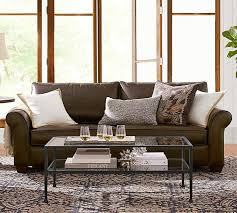 Fabric And Leather Sofa by Pb Comfort Roll Arm Leather Sofa Pottery Barn