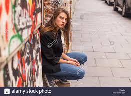 hipster girl hipster girl sitting on the street stock photo 78060140 alamy