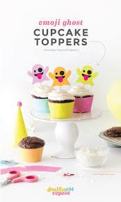 halloween cupcake toppers colorful emoji ghosts halloween