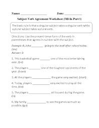 subject verb agreement worksheets fill in subject verb agreement