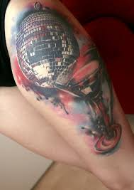 adorable disco and wine tattoos on leg for girls picsmine