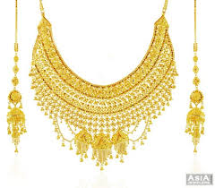 gold kaan earrings gold bridal necklace set ajns58435 exclusive 22k gold necklace