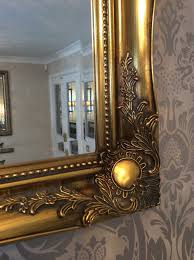 Bevelled Mirror Gold Swept Decorative Mirror 46inch X 36inch Free Postage