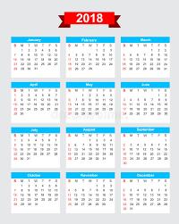 Kalender 2018 Helgdagar Start Söndag För Vecka För Kalender 2018 Vektor Illustrationer