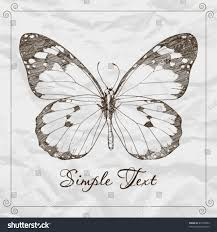 handdraw monarch butterfly on paper backround stock vector