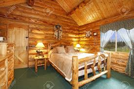 Schlafzimmer Holz Blockhaus Schlafzimmer Mit Rustikalen Holz Design Lizenzfreie