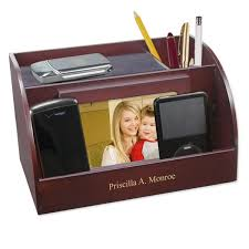 Personalized Desk Organizer Charging Station With Photo Frame And Pencil Cup