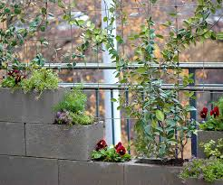 privacy wall and cement block vertical garden fiskars